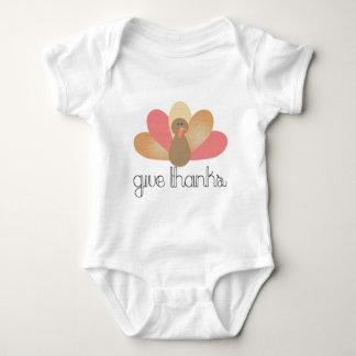 dê a obrigados o peru da acção de graças body para bebê