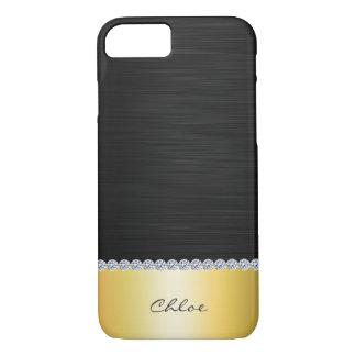 de aço inoxidável com diamantes e nome capa iPhone 7