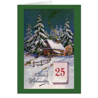 """De """"alemão do vintage Frohliche Weihnachten"""" Cartão Comemorativo"""