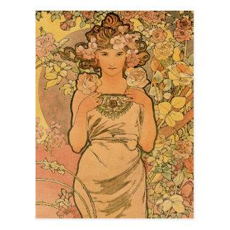 ~ de Alfons Mucha o rosa Cartao Postal