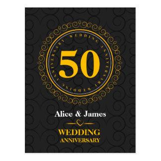 """De """"aniversário casamento dourado"""" personalizado cartão postal"""