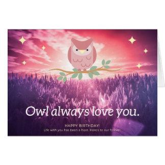 de aniversário dos cartões da coruja amor sempre