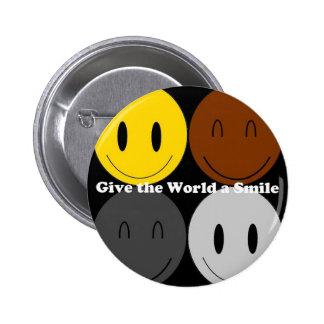 Dê ao mundo um sorriso 1 bóton redondo 5.08cm