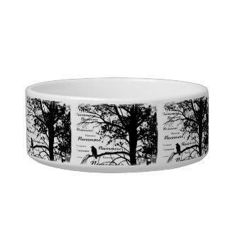 De B&W silhueta da árvore do corvo nunca mais - E. Tijelas Para Comida De Gatos