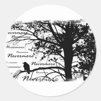 De B&W silhueta do corvo nunca mais Adesivo