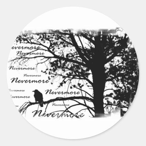 De B&W silhueta do corvo nunca mais Adesivos Redondos