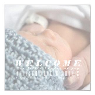Dê boas-vindas a nosso pacote de anúncio do bebê convite quadrado 13.35 x 13.35cm