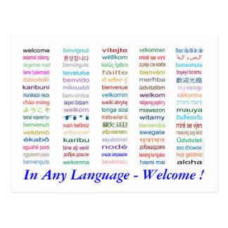 Dê boas-vindas no cartão de 80 línguas