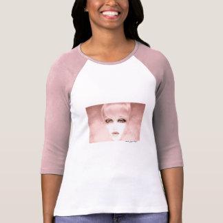 De branco do rosa do t-shirt da luva das mulheres