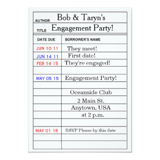 """De """"convites da festa de noivado do cartão convite 12.7 x 17.78cm"""