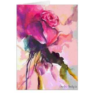 De cor-de-rosa Caso amoroso, cartão da aguarela &