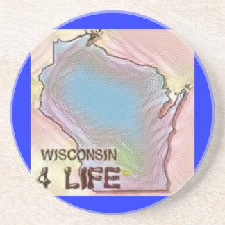 """De """"design do orgulho do mapa do estado da vida porta copos de arenito"""