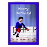De hóquei do jogador aniversário fora do tempo cartão comemorativo