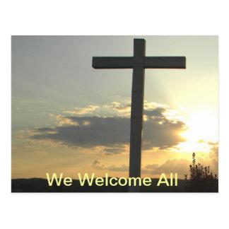Dê-lhe boas-vindas (o cartão religioso) cartão postal