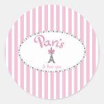 """De """"listras cor-de-rosa Paris eu te amo"""" - Adesivo Em Formato Redondo"""