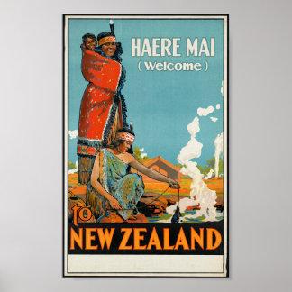 """De """"MAI Haere (boa vinda) poster de viagens de"""