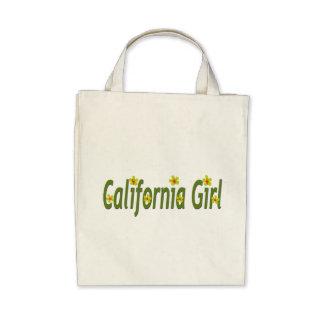 """De """"menina Califórnia"""" com amarelo/verde/flores al Bolsa De Lona"""