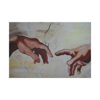 De Miguel Ângelo mãos de Erschaffung Adams Impressão Em Tela