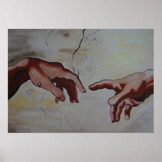 De Miguel Ângelo mãos de Erschaffung Adams Pôster