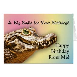 De mim, cartão de aniversário com um jacaré de