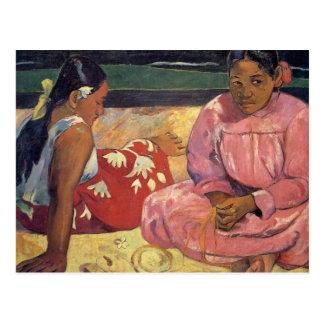 """De """"mulheres Tahitian no cartão de Gauguin da"""