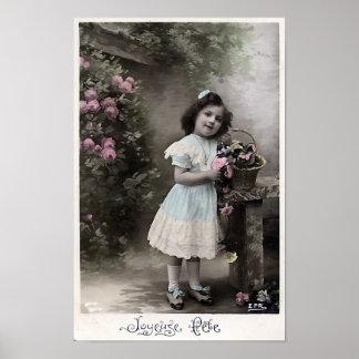 """De """"Natal do francês do vintage do Fete Joyeuse"""" Poster"""