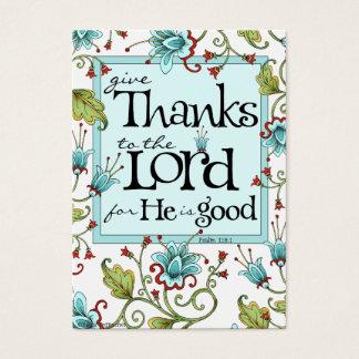 Dê obrigados - cartões da escritura
