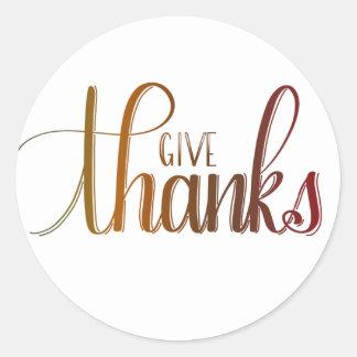 Dê obrigados, etiqueta de Handlettered, cores do