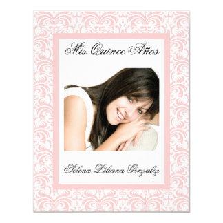 De Quinceanera do damasco rosa e branco Convite 10.79 X 13.97cm