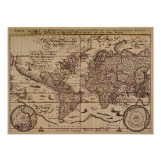 """De """"réplica do século XVI do mapa Velho Mundo Poster"""