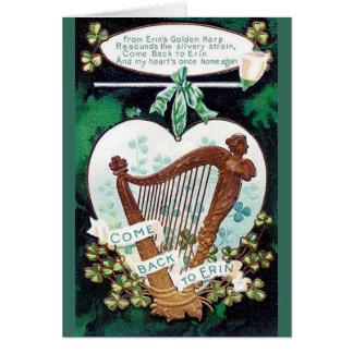 De St Patrick irlandês da harpa do vintage cartão