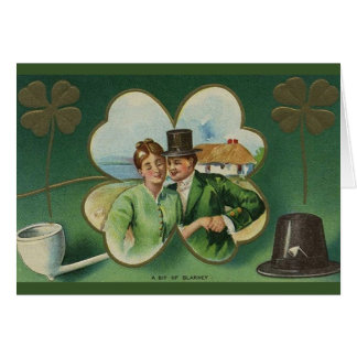De St Patrick irlandês do casal do vintage cartão