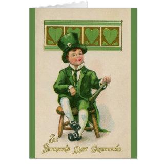 De St Patrick irlandês do menino do vintage cartão