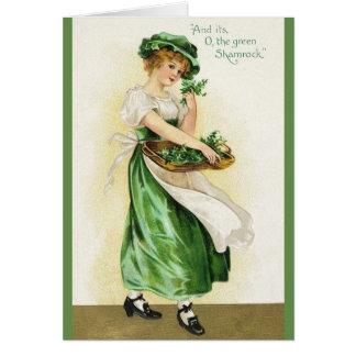 De St Patrick irlandês do trevo do vintage cartão
