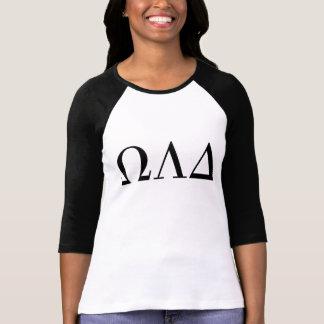 De T do Raglan das mulheres do delta de Omega Camiseta