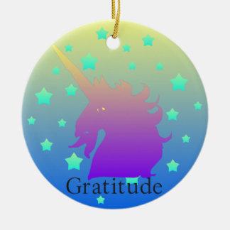 """De """"unicórnio Ombre com o ornamento da gratitude"""