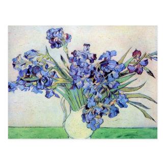 De Van Gogh vida ainda: Vaso com íris, arte do vin Cartões Postais