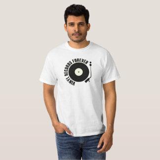 De vinil dos registros cor preta para sempre camiseta