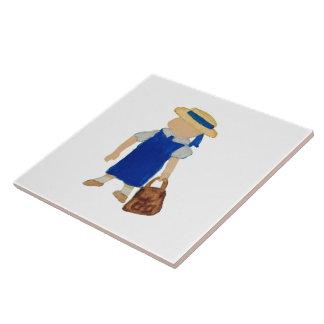 De volta à água da escola menina colorida com azulejo quadrado grande