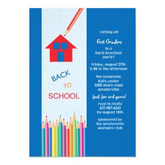 De volta à escola colorida escrevem o convite