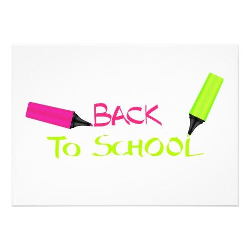 De volta à escola convites personalizados