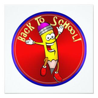 De volta à escola - lápis feliz convite personalizados