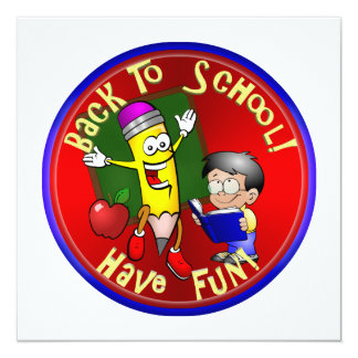 De volta à escola - lápis feliz - tenha o convite quadrado 13.35 x 13.35cm