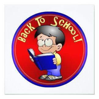 De volta à escola - livro de leitura de Little Boy Convite Quadrado 13.35 X 13.35cm