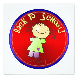 De volta à escola - menina feliz (2) convite quadrado 13.35 x 13.35cm