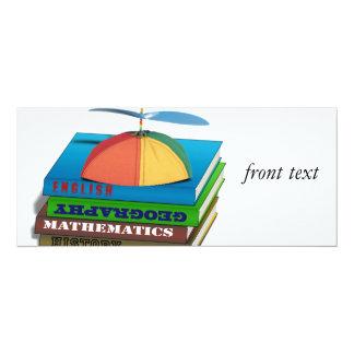 De volta à pilha de livro da escola convite 10.16 x 23.49cm