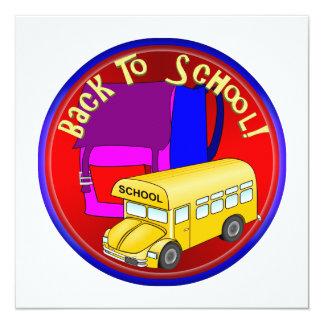 De volta ao auto escolar & à trouxa cor-de-rosa convite quadrado 13.35 x 13.35cm