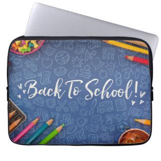 De volta ao giz e ao papel de carta da escola bolsa e capa para computadore