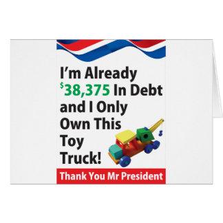 Débito do caminhão cartão comemorativo