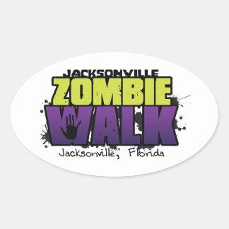 Decalque do logotipo da caminhada do zombi de adesivo oval
